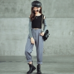 Girl Fashion Casual T-shirt Harrency Pants Two-piece Set Parent-child Outfit (Color:As Show Size:160cm)