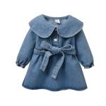 Baby Girl Denim Skirt Dress (Color:Blue Size:92cm)