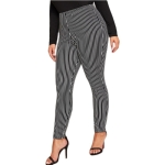 Women Plus Size Casual Loose Striped Trousers (Color:Black Size:XL)