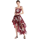 Women Casual Printed Irregular Sling Dress (Color:Wine Red Size:L)