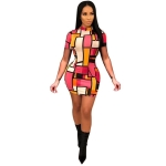 Women Printed Round Neck Colorful Square Dress (Color:As Show Size:S)