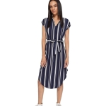 Women Sexy V-neck Striped Printed Mid-length Dress (Color:As Show Size:S)