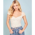 Women Fashion Lace-up Square Neck Low-cut Top (Color:White Size:M)