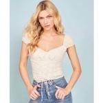 Women Fashion Lace-up Square Neck Low-cut Top (Color:White Size:L)