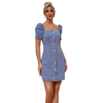 Women Palace Style Square Collar Button Short Sleeves Denim Dress (Color:Blue Size:XS)