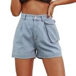 Women Fashion High Waist Washed Denim Straight Shorts (Color:Blue Size:M)