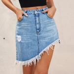 Women Fashion High Waist Irregular Denim Skirt (Color:Blue Size:XS)