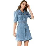 Women Retro Lapel Half Sleeve Denim Dress (Color:Blue Size:L)