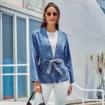 Women Fashion Loose Lace-up Cardigan Denim Jacket (Color:Blue Size:M)