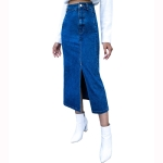 Women Retro High Waist Irregular Denim Long Skirt (Color:Blue Size:L)