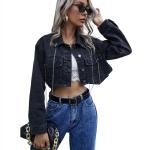 Women Irregular Backless Chain Loose Short Coat (Color:Black Size:XS)