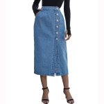Women Fashion High Waist Single Breasted Denim Skirt (Color:Blue Size:L)