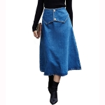 Women Fashion Splicing Pearl Button Denim Skirt (Color:Blue Size:S)