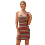Women Fashion Sexy Sling Colordul Stripes Sheath Dress (Color:As Show Size:S)
