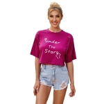 Women Casual English Printed Hollow Short Tops T-shirt (Color:Rose Red Size:S)