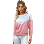 Women Retro Round Neck Color Matching Long Sleeve Sweater (Color:As Show Size:S)