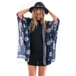 Women Travel Holiday Jacket Printed Cloak (Color:Blue Size:M)