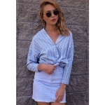 Women Fashion V-neck Striped Long Sleeve Shirt (Color:Blue Size:M)