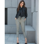 Women Casual High Waist Trousers with Waistband (Color:As Show Size:S)