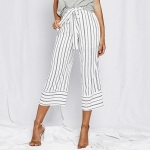 Women Lacing Loose Vertical Stripes Casual Trousers Wide-leg Straight Pants (Color:White Size:XL)