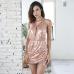 Women Sexy Halter Backless Hollow Sequin Dress (Color:Pink Size:XL)