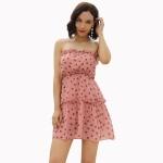 Women Chiffon Polka Dot Tube Top Dress (Color:Pink Size:L)