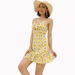 Women Summer Holiday Printed Sling Dress (Color:Yellow Size:XL)