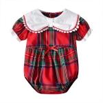 Children Plaid British Style Jumpsuit (Color:Red Size:90)