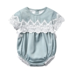 Children Short-sleeved Lace Jumpsuit (Color:Green Size:90)