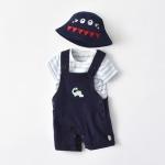 Boy Dinosaur Short Sleeve + Bib Two-piece Suit (Color:Navy Blue Size:90)