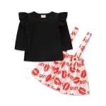 Girls Blouse Suspenders Printed Short Skirt Two-piece Suit (Color:Black Size:90)