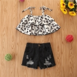 Girls Leopard Print Sling Top Ripped Jeans Two Piece Set (Color:Beige Size:80)