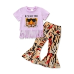 Girls Short-sleeved Fringed Blouse And Floral Pants Two-piece Suit (Color:Purple Size:70)