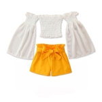 Girls Casual Long-sleeved Loose Short Top And Shorts Two-piece Suit (Color:White Size:90)