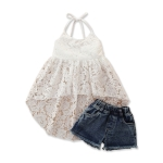 Girls Sling Sleeveless Top Skirt Shorts Two-piece Suit (Color:White Size:90)