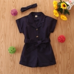 Girls Short-sleeved Single-breasted Jumpsuit (Color:Royal Blue Size:100)