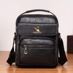 WEIXIER 8682 Large Capacity Retro PU Leather Men Business Handbag Crossbody Bag (Black)