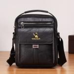 WEIXIER 8683 Large Capacity Retro PU Leather Men Business Handbag Crossbody Bag (Black)