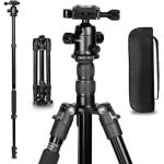 TRIOPO K2508S+B1S Adjustable Portable  Aluminum Aalloy Tripod with Ball Head for SLR Camera (Black)