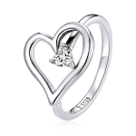 S925 Sterling Silver Shining Wish Heart Women Ring, Size:8