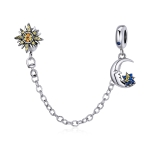 S925 Sterling Silver Sun Moon Star Safety Chain DIY Bracelet Necklace Accessories