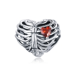 S925 Sterling Silver Beating Heart Beads DIY Bracelet Necklace Accessories