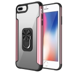 PC +TPU + Metal Shockproof Protective Case with Ring Holder For iPhone 8 Plus / 7 Plus(Rose Gold)