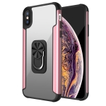 PC +TPU + Metal Shockproof Protective Case with Ring Holder For iPhone XS Max(Rose Gold)
