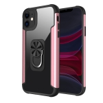 PC +TPU + Metal Shockproof Protective Case with Ring Holder For iPhone 11(Rose Gold)