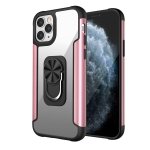 PC +TPU + Metal Shockproof Protective Case with Ring Holder For iPhone 11 Pro(Rose Gold)