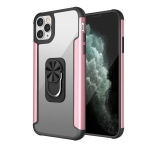 PC +TPU + Metal Shockproof Protective Case with Ring Holder For iPhone 11 Pro Max(Rose Gold)