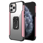 PC +TPU + Metal Shockproof Protective Case with Ring Holder For iPhone 12 Pro Max(Rose Gold)