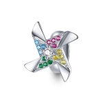 S925 Sterling Silver Colorful Little Windmill Beads DIY Bracelet Necklace Accessories