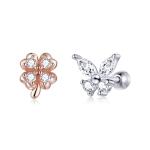 S925 Sterling Silver Clover Butterfly Women Earrings